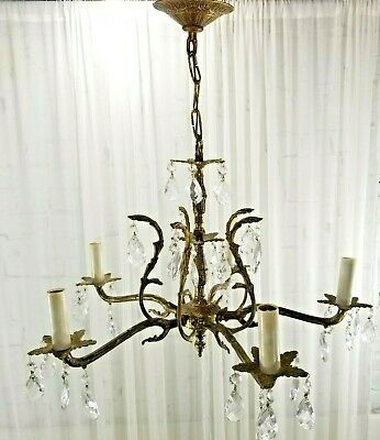 Antique Brass Chandelier with Crystals Ornate French Provincial Spanish 5-light