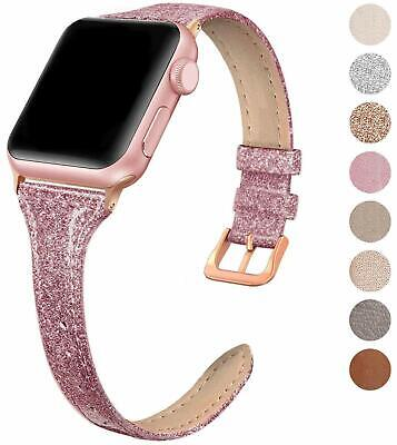 SWEES Leather Band Compatible for Apple Watch iWatch 38mm 40mm, Slim Thin Genuin