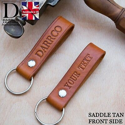 Personalised Leather Keyring SADDLE TAN Handcrafted Gift