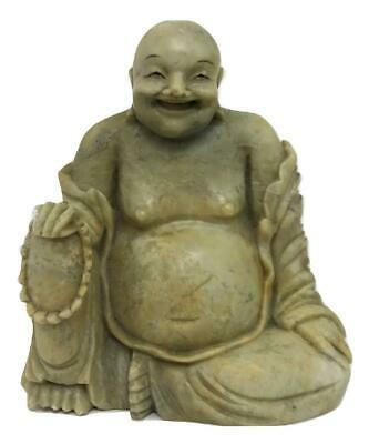 Vintage Chinese China Laughing Buddha Budai Monk Carved Soapstone Figure Statue