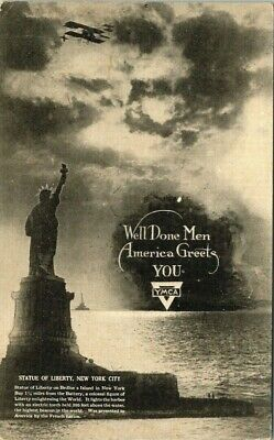 Postcard YMCA Statue Of Liberty Dept For Reception OF Returning Troops Military