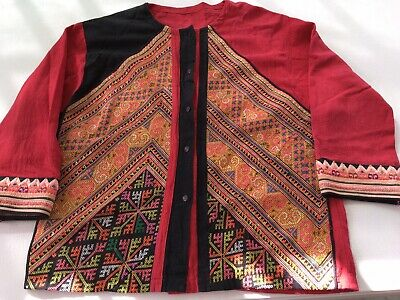 Traditional Tibetan  Unisex Top Embroidered Square shirt Colourful Himalayan