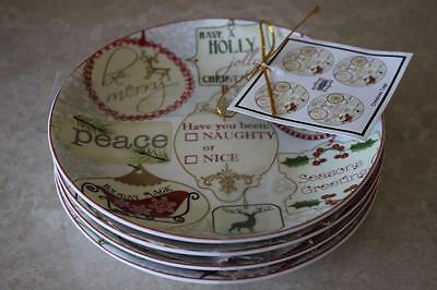 222 Fifth Christmas Tags Round Appetizer Plates - Set of 4