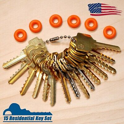 Professional 15 Residential Depth Key Set with Bump Rings, Offset Cuts