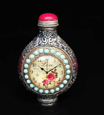 Collectible Chinese Handmade Silver & Cloisonne Inlaid Snuff Bottles Exquisite