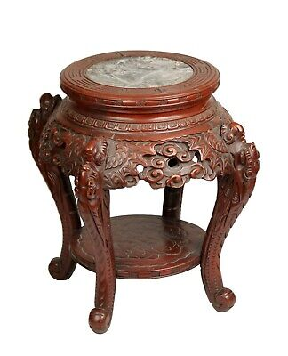 Chinese antique carved red wood dragon round table