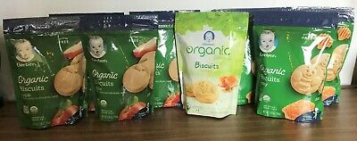 Lot of 8 Organic Gerber Graduates Cookies Apple & Honey Gluten Free - Toddler