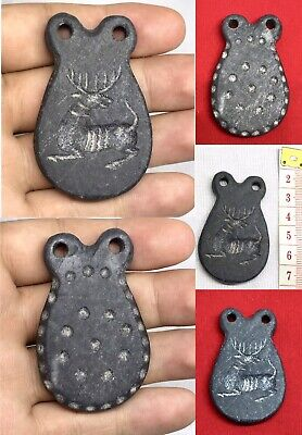 Old Vintage Carved Natural Black Jade Stone Deer Animal Intaglio Stamp Pendant