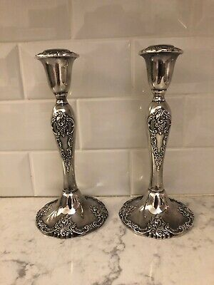 """Wallace Baroque Silverplate Candlesticks Victorian 750 9"""". Very Heavy"""