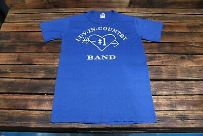 Vintage 70's T-Shirt Old Band Luv-In-Country Small S Size Tee