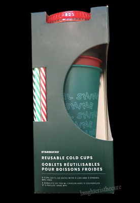 IN HAND NEW Starbucks 2019 Fall Holiday Christmas REUSABLE COLD CUPS  5 pack
