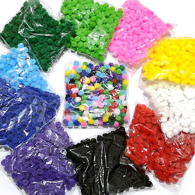 10mm Pom Poms Assorted Colours Choose from Pack Sizes 200/400/600/800 or 1000
