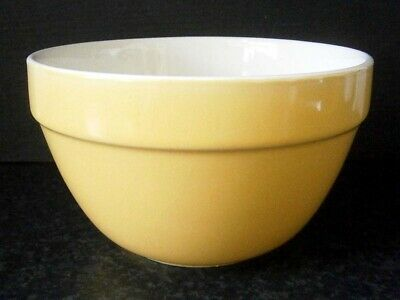 Vintage Kitchen Classic Yellow Ceramic Pudding Basin Mixing Bowl