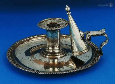 GEORGE III OLD SHEFFIELD PLATE CHAMBER CANDLESTICK c1815 T&J Creswick Lion Crest