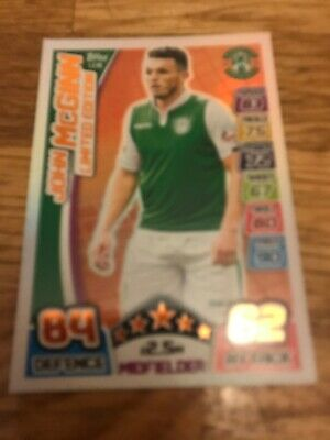JOHN McGINN HIBS HIBERNIAN 2017/18 SPFL MATCH ATTAX BRONZE LIMITED EDITION CARD.