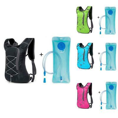 Rucksack Backpack With 2L Water Bladder Bag Hydration New Running Pack Cycl T9Q6