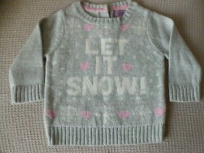"""Girls Toddlers Christmas """" Let It Snow"""" Grey Jumper Age 3 - 6 Months F & F"""