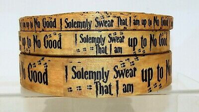 Harry Potter I Solemnly Swear Printed Grosgrain Ribbon 10/16/25mm 1m 2m or 5m