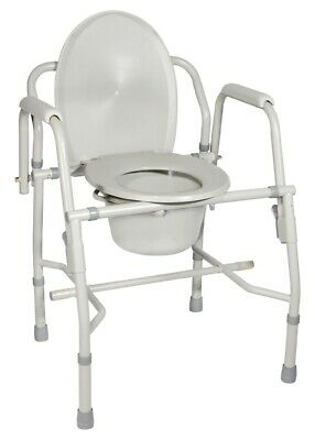 New Drive 11125 KD-1 Deluxe Steel Drop Arm Commode Potty Seat Bed Side Toilet