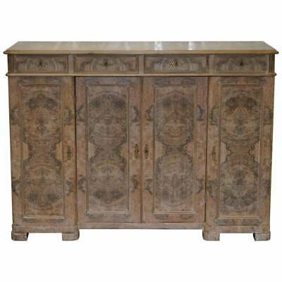 Stunning Large Quarter Cut Walnut Sideboard With Drawers Cabinet Bookcase Burr