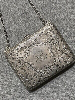 Antique TIFFANY& Co.Sterling SILVER EVENING PURSE ENGRAVED CABACHON AMBER CLASP.