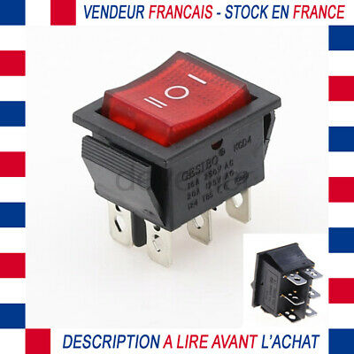 INTERRUPTEUR ON OFF OU ON ON 3 PINS 2 POSITIONS 250V 6A A CLIPSER 19x12MM BLANC