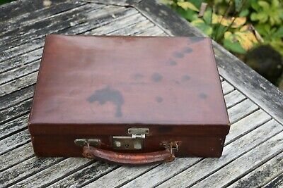 Small Brown English Writing Case Circa 1920's in Leather - Antique Luggage
