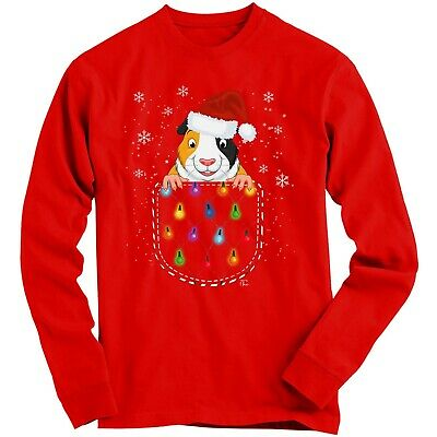 1Tee Kids Girls Guniea Pig in a Christmas Pocket Sweatshirt Jumper