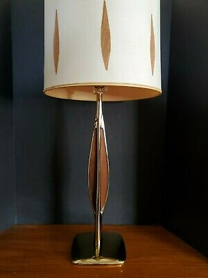 VTG Mid Century Designer LAUREL LAMP BRASS & WOOD Original Shade