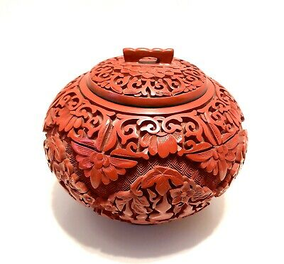 Antique Asian Chinese Red Cinnabar Ginger Jar Hand Carved w Floral Flowers Vase