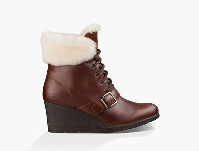 Womens Ugg Wilcox Mid Boot Stout Leather Uk Size 3.5
