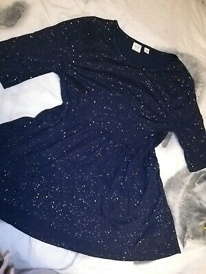 VGC Girls GAP Navy Glitter Sparkly Long Sleeve Peplum Like Tunic Top 13-14 Years