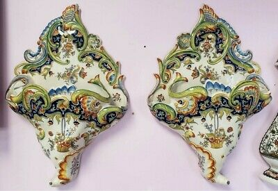 Pair of Mid 19th Century French Rouen Porcelain Floral Motif Wall Pocket Vases