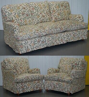 Rrp £11,296 Multiyork Howard Sofa & Pair Of Armchairs Suite Floral Upholstery