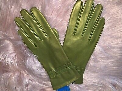 Metallic green goat skin leather gloves by Jeronimo Made in Italy size 8