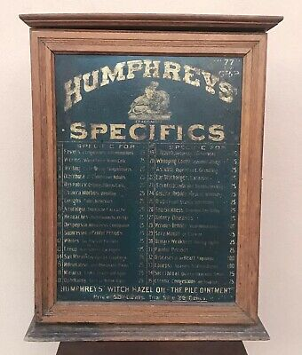 Humphreys Remedies Specific Drugstore Homeopathic Medicine Cure Display Cabinet
