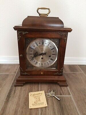 Vintage Hamilton Mantle Clock Key Wind Chiming Shelf Heavy With Key