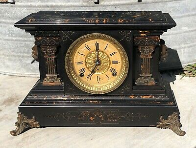 WORKING Antique Seth Thomas Mantle Clock Lion Adamantine All Original Parts 1880
