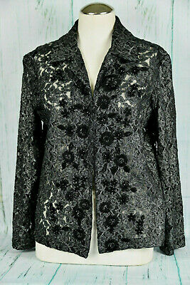 Chico's Black/Silver Floral Lacy Jacket with Black Seqins  Size 1 (JL2841)