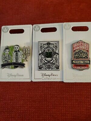 New Disney Parks Haunted Mansion 3 Pin Set Graveyard Jamboree Foolish Mortals+