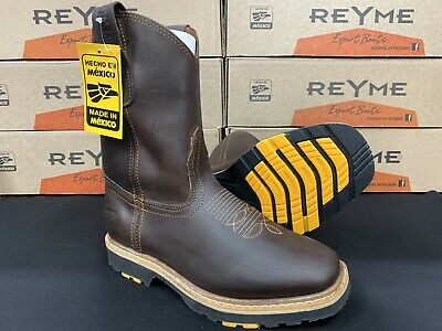 Men's Safety Pull up Rodeo Square Toe Oil & Slip Resistant Leather Work Boots