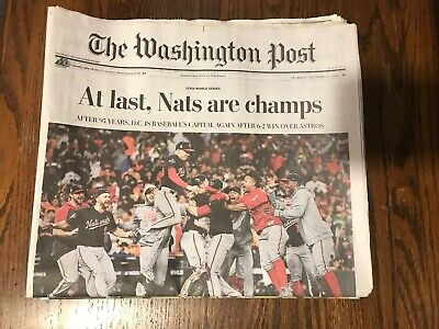 The Washington Post Nationals World Series 10/31/19 Nats Newspaper Brand New