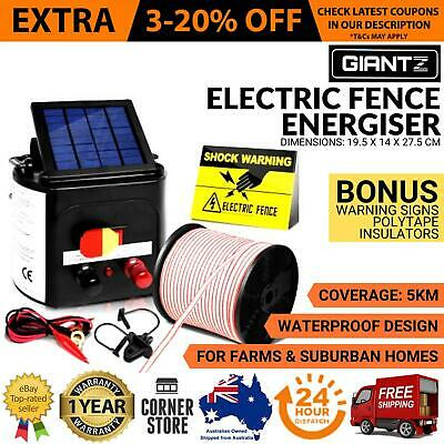 Solar Power Electric Fence Charger Kit Farm Fencing Tape 25pcs Insulators