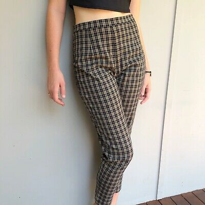 90s Vintage PLAID Stretchy High Waisted Pants Trousers Tartan Grunge Size M