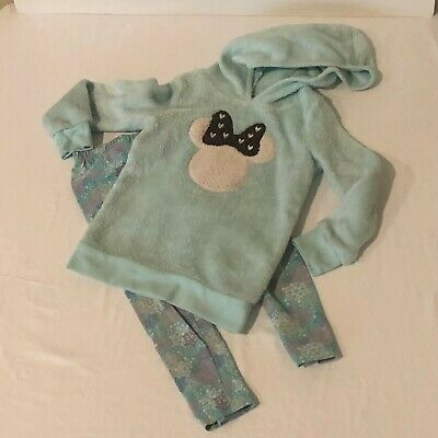 Disney Girls Minnie Mouse Sweatshirt and Leggings Set Outfit Size 4 4T Green