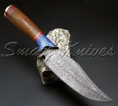 Smart Knives Hand Made Damascus Steel Hunting Bowie Knife Handle Natural Wood