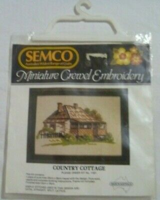 Vintage Embroidery Kit Country Cottage Unworked Traced Linen SEMCO Australian