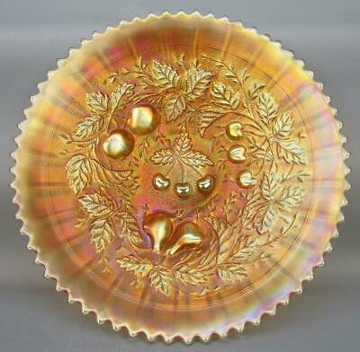Northwood STIPPLED THREE FRUITS Marigold Carnival Glass STARTER Plate 5598
