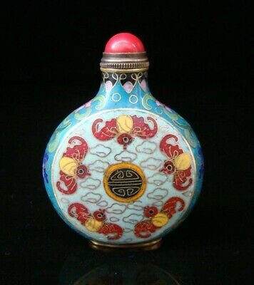 Collectibles 100% Handmade Painting Brass Cloisonne Enamel Snuff Bottles 031