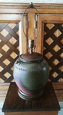 Vintage Mid Century Hand Thrown Studio Pottery Vase Table Lamp Rustic 24""